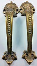 """2 Brass Handles 6 3/4"""" Pulls Door Cabinet Antique Barn Gate Crown Motif #P10"""