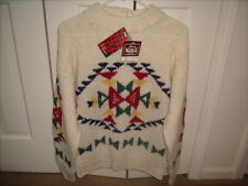 Woolrich Womens Pure Wool Hand Knit Sweater Size M Abstract Quilt Pattern NEW