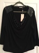 Country Casuals Cc Black Sequin Top New Bnwt Size XL Extra Large