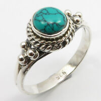 925 Sterling Silver Natural Turquoise Ring Size 7.75 Low Price
