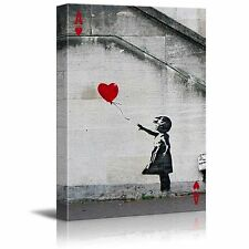 wall26 - Canvas - Hearts Ace - Banksy Girl with Red Heart Shaped Balloon - 16x24