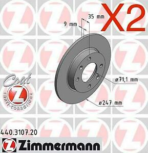 Zimmermann Rear Brake Discs 247mm Citroen C3 Berlingo Peugeot 307 4246.W9