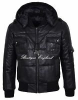 Men's Puffers Hooded Bomber Jacket BLACK 100% REAL NAPA LEATHER PILOT-6 PUFFER