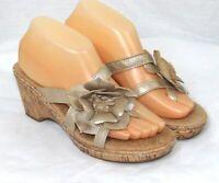 Merona Women's Beige Floral Cork Wedge Sandals Size 8
