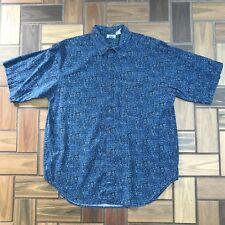 Vintage Button Short Sleeve Casual Shirt / Abstract Art Aztec Blue / Men's Large