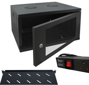 "6u 600mm 19"" Black Wall Mounted Data Cabinet, c/w 300mm Shelf & 6 way PDU"
