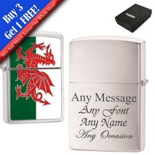 More details for personalised engraved brushed chrome welsh zippo, official zippo lighter