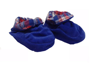 2 X Pairs Baby Padders Slippers Navy Blue With Check Design Trim Size 12M - 18M