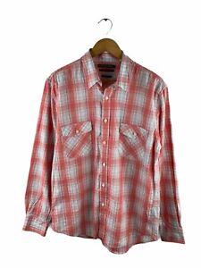 Fletcher Jones Button Up Shirt Men Size M White Check Long Sleeve Pockets Collar