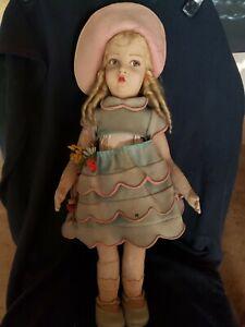 "1920's Lenci Large 23"" Italian Felt Doll All Original"