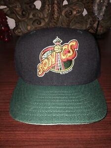 Seattle Sonics Supersonics Spell Out Vintage Fitted Hat New Era 90's 1994 6 3/4