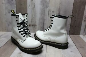 DR. MARTENS White Leather 11821 Combat Boots Women's Size 8 Rare