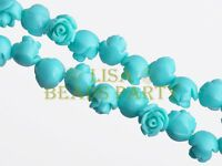 30pcs 8mm Flower Rose Synthetic Coral Loose Spacer Beads Findings Spearmint