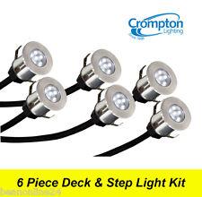 6 Piece LED Deck & Step Light Kit DIY Stainless Steel - Complete Kit!