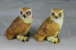 9cm EAGLE OWL MODELS - 2 ASSORTED - BIRD ORNAMENTS - COLLECTOR'S GIFTS