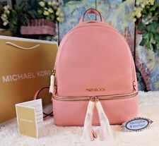 NWT MICHAEL Kors $378 RHEA Zip MEDIUM Backpack Pebbled Leather In PALE PINK/Gold