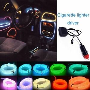 2/5M Car LED Neon Light Glow EL Wire Strip Wire Rope Decor Cigarette Lighter DC