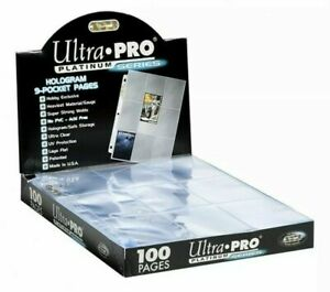 (100 NEW) Ultra Pro 9 Pocket Pages Platinum Series, Sports, Pokemon, MTG + Cards