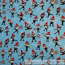 BonEful FABRIC FQ Cotton Quilt Blue Black B&W Red Japan Ninja Boy Asian Cartoon