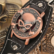 Men's Biker Metal Skull Chain Leather Bracelet Watch Wrist Watch GY