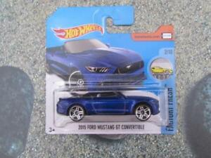 Hot Wheels 2017 #104/365 2015 FORD MUSTANG GT CONVERTIBLE blue New Model 2017