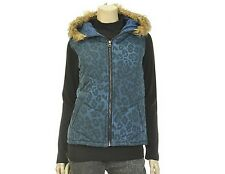 T.View Womens Leopard Pattern Hood Zip Up Vest Lightweight Navy Blue Size S/M