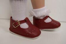 "BURGUNDY Old Fashion T-Strap Tstrap Doll Shoes For Tonner 18"" Ann Estelle (Debs)"