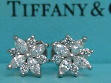 TIFFANY & CO. VICTORIA CLUSTER .74TCW  DIAMOND PLATINUM EARRINGS BOX