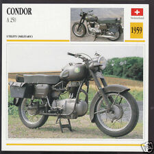 1959 Condor A 250cc OHV (248cc) Switzerland Bike Motorcycle Photo Spec Info Card