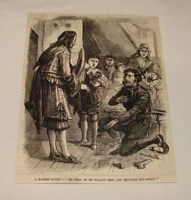 1880 magazine engraving ~ ROBBER BEGGING FOR MERCY