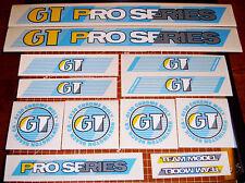 1987 / 88 GT BMX Pro Series Team, restoration decal set on clear LIGHT BLUE