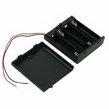 Storage Box Case for 4 x AA LR6 Battery Holder with Switch ON/OFF, Leads, Cover