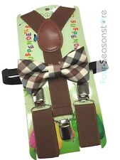 Brown with Style toddler bow tie and suspenders set - baby boy/girl Accesorries