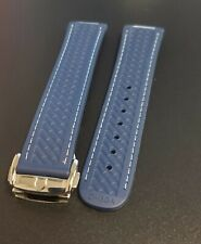 OMEGA WATCH BAND BLUE STRAP INCLUDES BUCKLE MENS RUBBER 20MM FLEX SEAMASTER AQUA