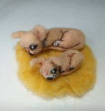 More details for 2 sleeping dog chihuahua pup mum dad needle felted wool pet animal ooak free pp