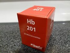 NEW SEALED HB201 HEMOCUE HEMOGLOBIN MICROCUVETTE MICROCUVETTES 25/BOX SAVE!!!!