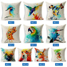 18''Watercolor Cushion Covers Cotton Linen Animal Print Throw Pillowcase