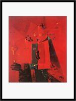 Max Ernst Die blaue Stunde Poster Kunstdruck im Alu Rahmen in schwarz 90x70cm