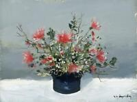 RENE MARIE DUJARDIN (1913-2002) Oil Painting STILL LIFE FLOWERS - 20TH CENTURY