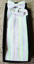 Gentlemen's White Pastel Stripe Seersucker Cotton, Summer BowTie/Cumberbund Set