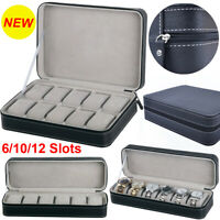 6/10/12 Slots Watch Box Portable Travel Zipper Case Collector Storage Jewelry