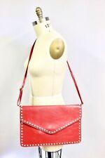 Womens Handbag Red Huge Shoulder Messenger Envelope Bag Purse Crystal Studs