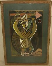 Vintage MID CENTURY CUBIST Warrior Portrait 'THE KING' Painting signed MACLEAN