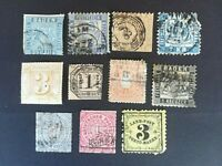 OLD GERMAN STATES: 11 stamps with defects but interesting catalogue values