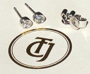 0.20tcw G/SI1 Genuine Diamond Stud Bezel Set Earrings 18ct 18k Solid White Gold