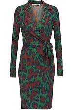 DVF Savannah Silk Wrap Front Tie Dress in Leopard Medium Green US sz 12 $468