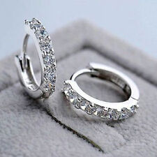 Fashion Women Jewelry White Gemstones Crystal Sterling Silver Hoop Earrings Gift