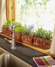 Vintage Drawer Planters Set of 3 Red Distressed Rustic Wood Water Resistant