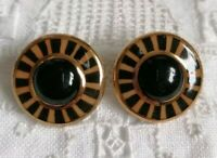 Vintage Gold Black Art Deco Style Ceramic 80s Clip On Earrings