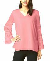 Alfani Womens Dusty Blush Pink Tiered BellSleeve VNeck Top Size Petite Small NWT